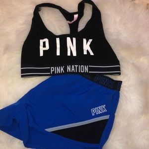 PINK sports bra and shorts